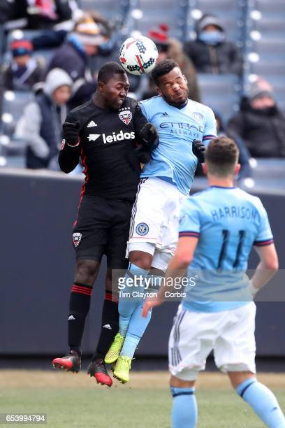 Patrick Nyarko of DC United and Ethan White of New York City FC challenge for the ball during the NYCFC Vs DC United regular season MLS game at...