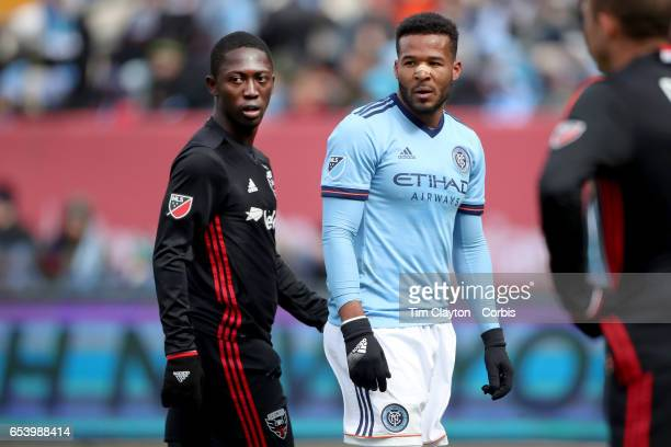Patrick Nyarko of DC United and Ethan White of New York City FC during the NYCFC Vs DC United regular season MLS game at Yankee Stadium on March 12...