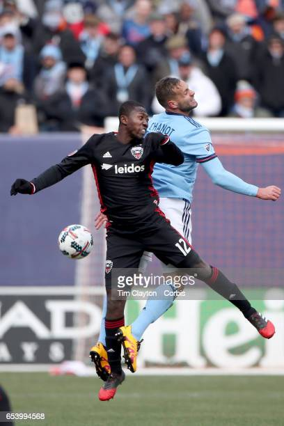 Patrick Nyarko of DC United and Maxime Chanot of New York City FC challenge for the ball during the NYCFC Vs DC United regular season MLS game at...