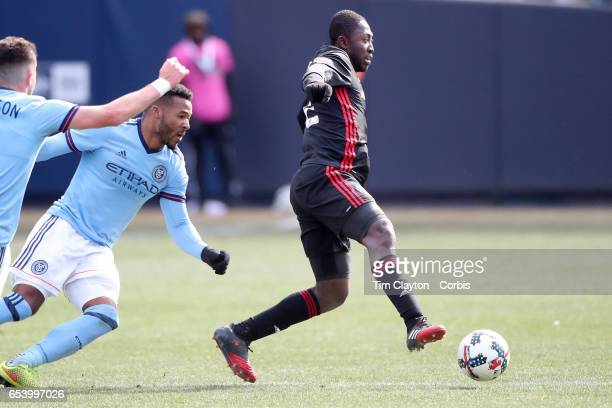 Patrick Nyarko of DC United in action during the NYCFC Vs DC United regular season MLS game at Yankee Stadium on March 12 2017 in New York City