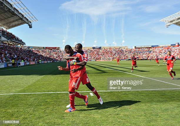 Patrick Nyarko of the Chicago Fire and teammate Dominic Oduro celebrate Nyarko's goal against the New York Red Bulls at Toyota Park on June 17 2012...