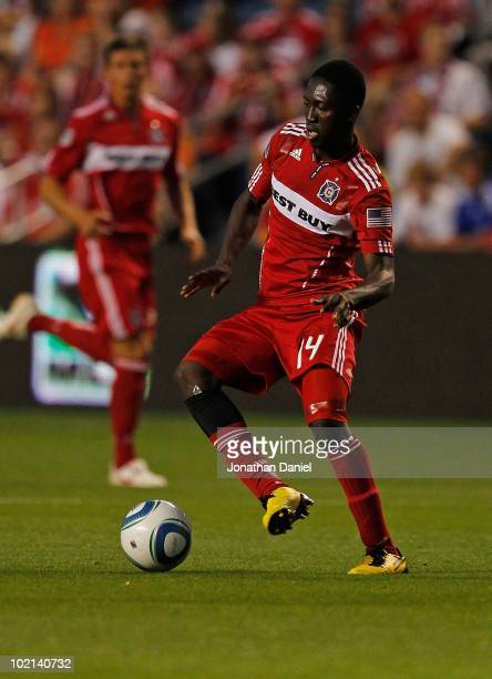 Patrick Nyarko of the Chicago Fire controls the ball against the Colorado Rapids in an MLS match on June 5 2010 at Toyota Park in Brideview Illinois...