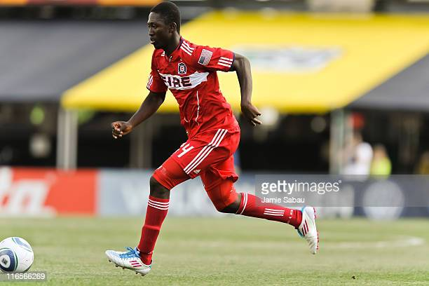 Patrick Nyarko of the Chicago Fire controls the ball against the Columbus Crew on June 12 2011 at Crew Stadium in Columbus Ohio