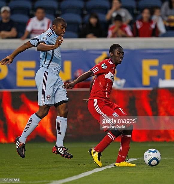 Patrick Nyarko of the Chicago Fire holds off Marvell Wynne of the Colorado Rapids in an MLS match on June 5 2010 at Toyota Park in Brideview Illinois...