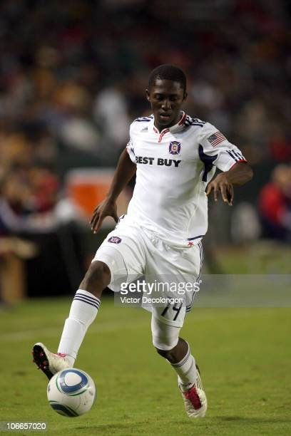 Patrick Nyarko of the Chicago Fire paces the ball on the right wing during the MLS match against Chivas USA on October 23 2010 in Carson California...
