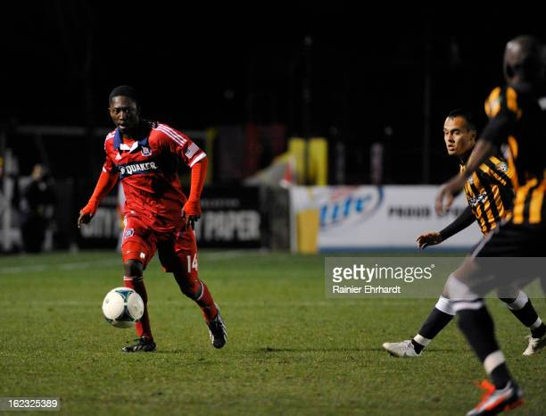 Patrick Nyarko of the Chicago Fire runs with the ball during the first half of a game against the Charleston Battery at Blackbaud Stadium on February...