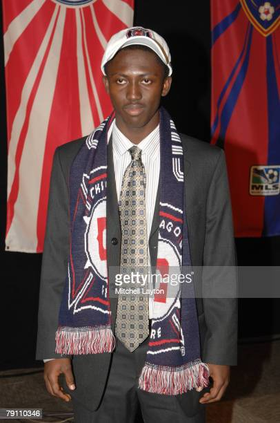 Patrick Nyarko poses for photo after being selected seventh by the Chicago Fire in the MLS Super Draft on January 18 2008 at the Baltimore Convention...