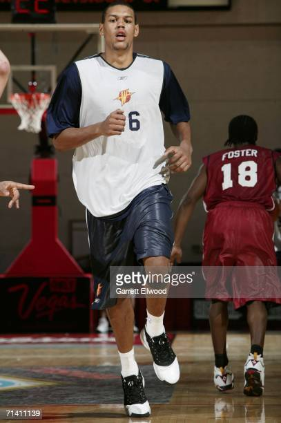 Patrick O'Bryant of the Golden State Warriors runs upcourt against the Cleveland Cavaliers during the 2006 Toshiba Vegas Summer League July 10 2006...