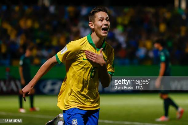 Patrick of Brazil celebrates a scored goal during the FIFA U17 Men's World Cup Brazil 2019 match Italy and Brazil at Olimpic Stadium on November 11...