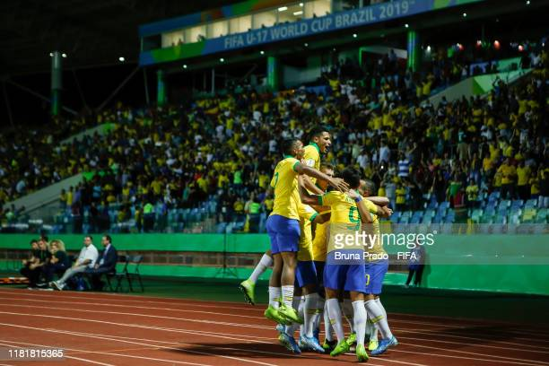 Patrick of Brazil celebrates with teammates after scoring a goal during the FIFA U17 Men's World Cup Brazil 2019 match Italy and Brazil at Olimpic...