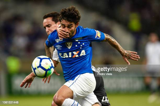 Patrick of Cruzeiro and Jadson of Corinthians battle for the ball during a match between Cruzeiro and Corinthians as part of Brasileirao Series A...