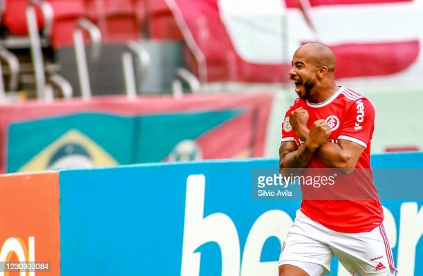 Patrick of Internacional celebrates after scoring the first goal of his team during the match between Internacional and Red Bull Bragantino as part...