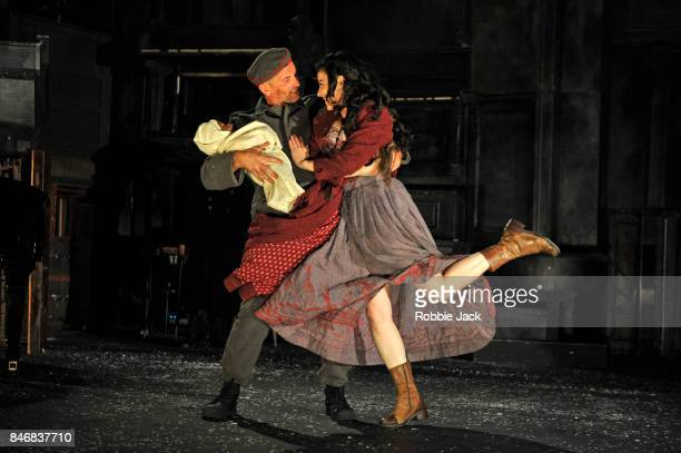 Patrick O'Kane as Woyzeck and Camille O'Sullivan as Marie in Conall Morrison's Woyzeck in Winter directed by Conall Morrison at The Barbican on...