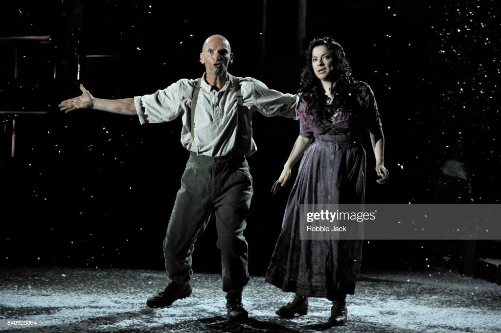 Patrick O'Kane as Woyzeck and Camille O'Sullivan as Marie in Conall Morrison's Woyzeck in Winter directed by Conall Morrison at The Barbican on September 13, 2017 in London, England.