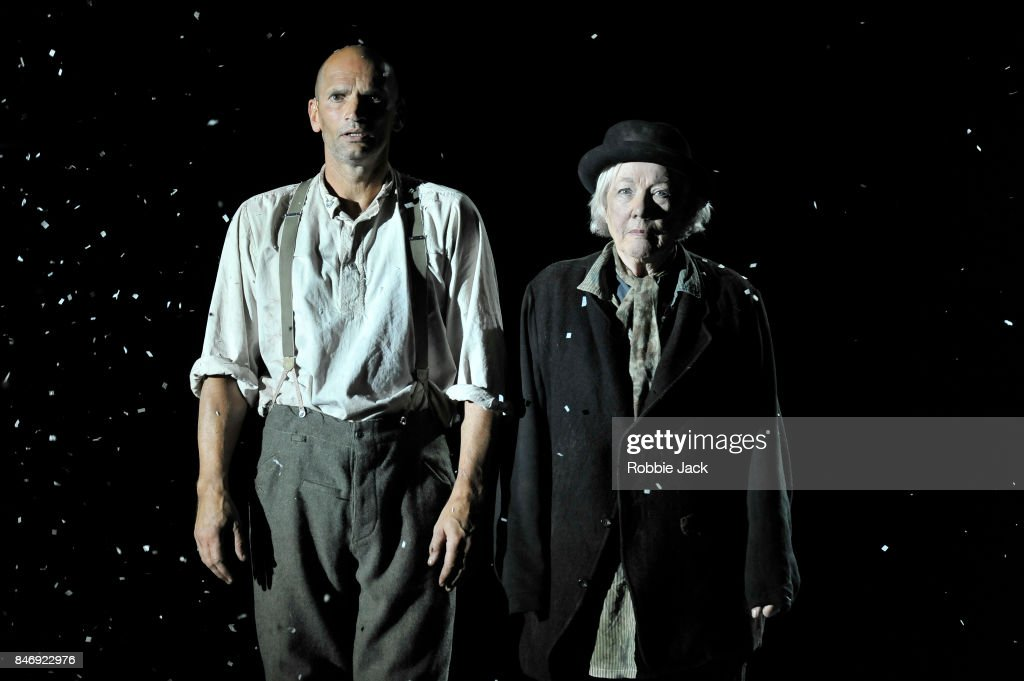 Patrick O'Kane as Woyzeck and Rosaleen Linehan as Hurdy-Gurdy Man in Conall Morrison's Woyzeck in Winter directed by Conall Morrison at The Barbican on September 13, 2017 in London, England.