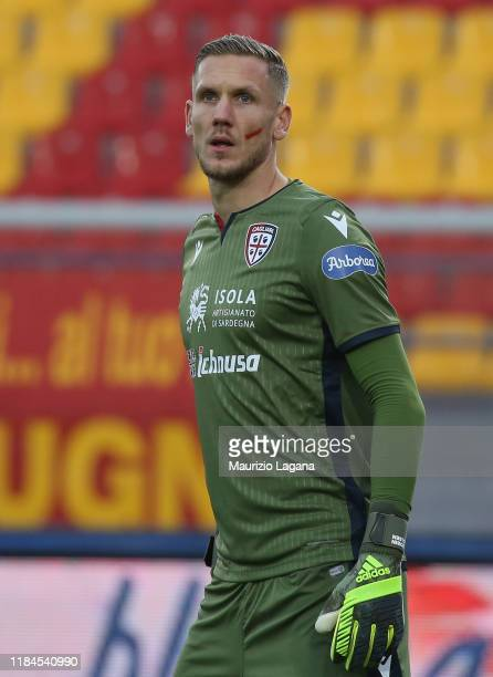 Patrick Olsen of Cagliari during the Serie A match between US Lecce and Cagliari Calcio at Stadio Via del Mare on November 25 2019 in Lecce Italy