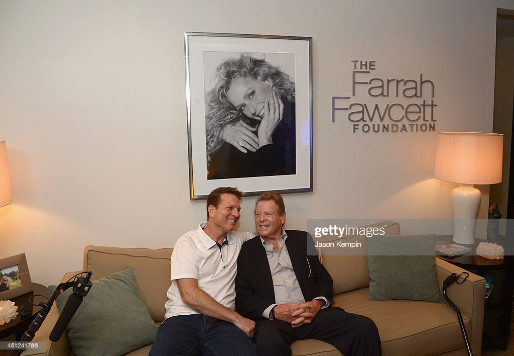 Patrick O'Neal and Ryan O'Neal attend the Farrah Fawcett 5th Anniversary Reception at the Farrah Fawcett Foundation on June 25, 2014 in Beverly Hills, California.