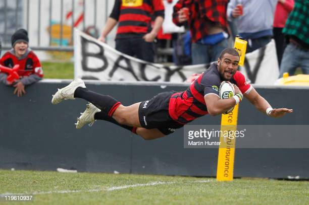 Patrick Osborne of Canterbury dives over to score a try during the round three ITM Cup match between Canterbury and Southland at AMI Stadium on July...