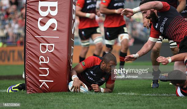 Patrick Osborne of Canterbury scores a try against the posts during the round eight ITM Cup match between Cantebury and Counties Manukau at AMI...