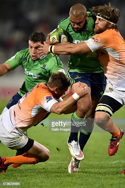 Patrick Osborne of the Highlanders and Boom Prinsloo of the Cheetahs during the Super Rugby match between Toyota Cheetahs and Highlanders at Free...