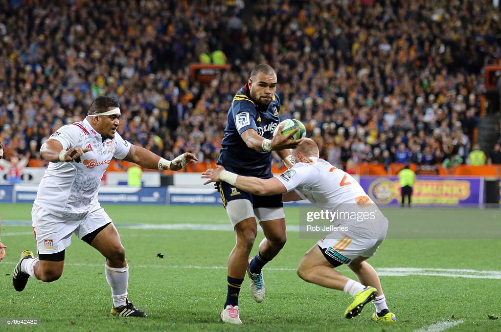 Patrick Osborne of the Highlanders on the attack during the round 17 Super Rugby match between the Highlanders and the Chiefs at Forsyth Barr Stadium on July 16, 2016 in Dunedin, New Zealand.