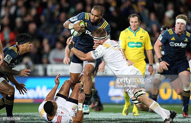 Patrick Osborne of the Highlanders on the charge during the round 17 Super Rugby match between the Highlanders and the Chiefs at Forsyth Barr Stadium...