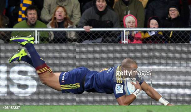 Patrick Osborne of the Highlanders scores a try during the round 15 Super Rugby match between the Highlanders and the Crusaders at Forsyth Barr...