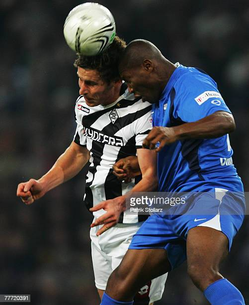 Patrick Paauwe of Moenchengladbach heads up vies for the ball against Jenas Omodiagbe during the Second Bundesliga match between Borussia...