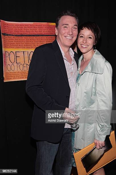 Patrick Page and Paige Davis attend the Poetic License 100 Poems 100 Performers CD release party at the Bowery Poetry Club on April 4 2010 in New...