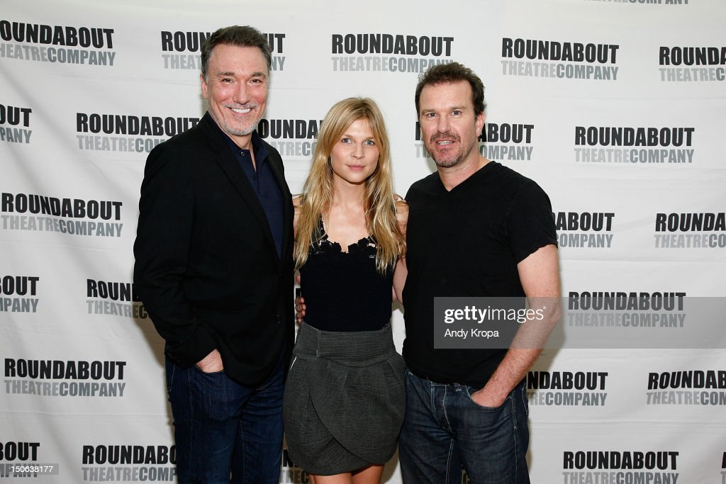Patrick Page, Clemence Poesy and Douglas Hodge attend the 'Cyrano de Bergerac' cast photocall on August 23, 2012 in New York City.