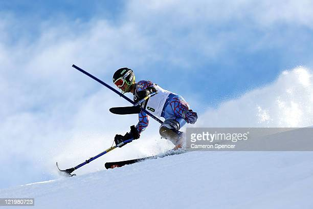 Patrick Parnell of the United States of America competes in the Mens Slalom Standing during day 13 of the Winter Games NZ at Coronet Peak on August...
