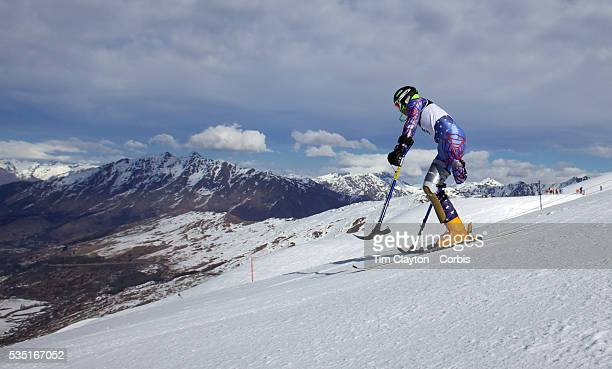 Patrick Parnell USA in action during the Men's Slalom Standing Adaptive Slalom competition at Coronet Peak New Zealand during the Winter Games...
