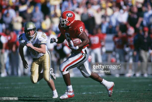 Patrick Pass, Running Back for the University of Georgia Bulldogs runs the ball during the NCAA Southeastern Conference college football game against...