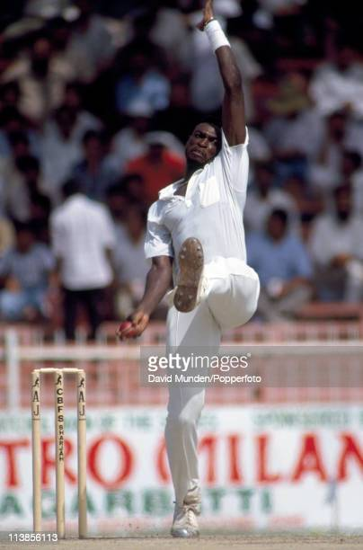 Patrick Patterson bowling for the West Indies during a Wills Trophy match at Sharjah Stadium in the United Arab Emirates in October 1991