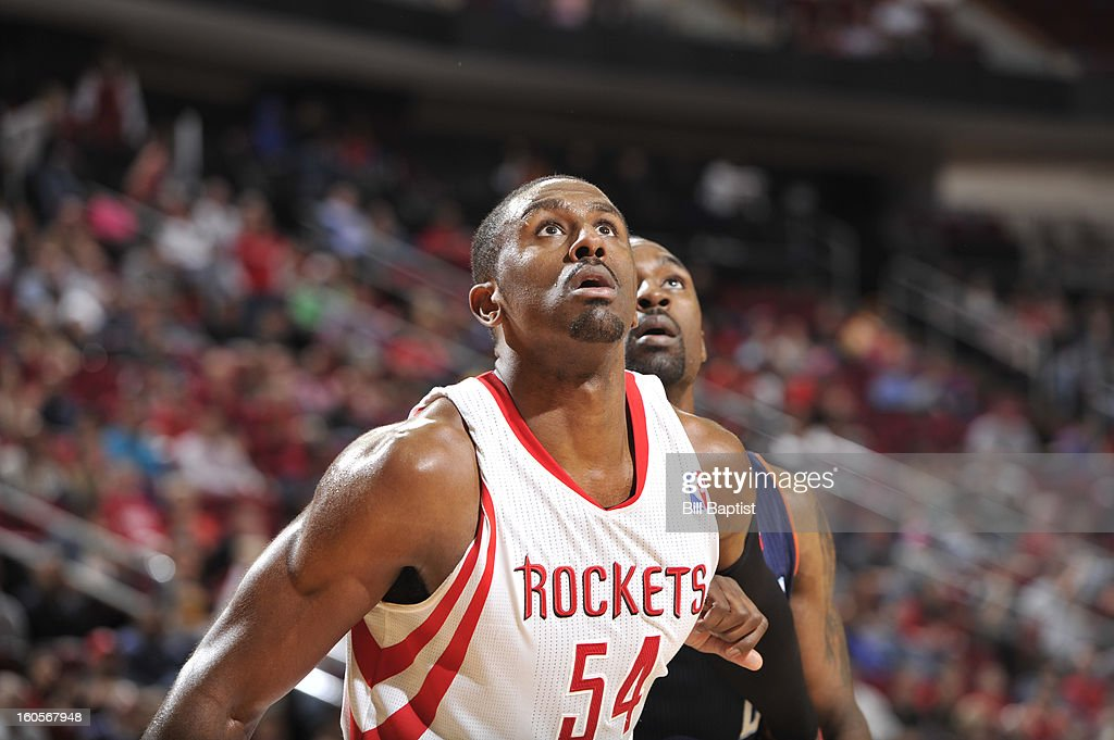 Patrick Patterson #54 of the Houston Rockets battles for postioning against the Charlotte Bobcats on February 2, 2013 at the Toyota Center in Houston, Texas.