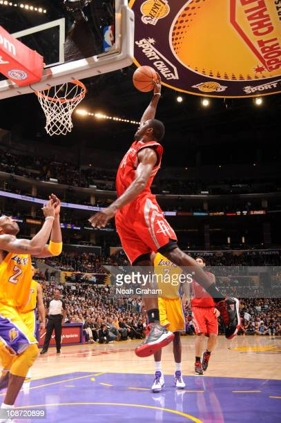 Patrick Patterson of the Houston Rockets dunks during a game against the Los Angeles Lakers at Staples Center on February 1 2011 in Los Angeles...