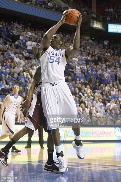 Patrick Patterson of the Kentucky Wildcats puts a shot up during the SEC game against the Mississippi State Bulldogs on February 3 2009 at Rupp Arena...