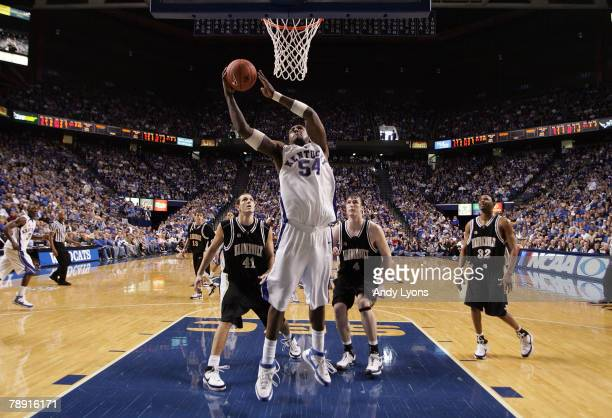 Patrick Patterson of the Kentucky Wildcats shoots the ball during the SEC game against the Vanderbilt Commodores at Rupp Arena January 12 2008 in...