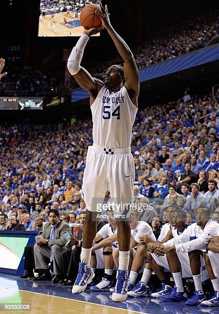 Patrick Patterson of the Kentucky Wildcats shoots the ball during the game against the Miami University Redhawks at Rupp Arena on November 16 2009 in...