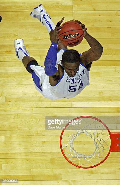 Patrick Patterson of the Kentucky Wildcats slams the ball during a 9060 win over the Wake Forest Demon Deacons during the second round of the 2010...