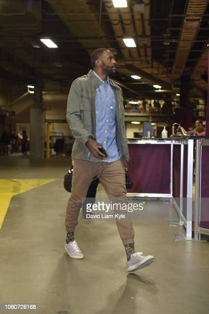 Patrick Patterson of the Oklahoma City Thunder arrives to the arena prior to the game against the Cleveland Cavaliers on November 7 2018 at Quicken...