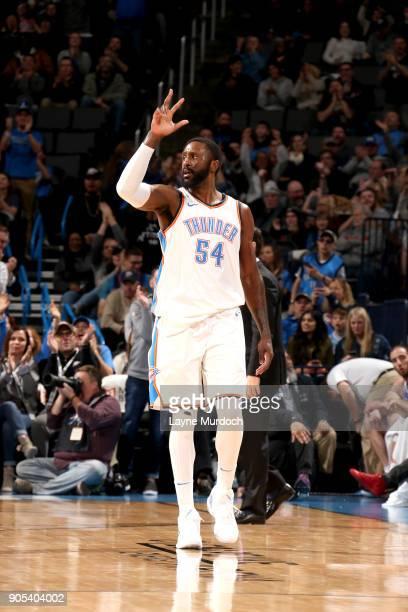 Patrick Patterson of the Oklahoma City Thunder celebrates hitting a three pointer against the Sacramento Kings on January 15 2018 at Chesapeake...