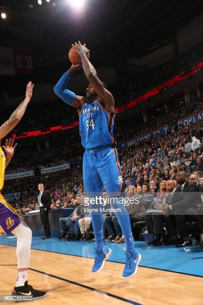 Patrick Patterson of the Oklahoma City Thunder shoots the ball during the game against the Los Angeles Lakers on January 17 2018 at Chesapeake Energy...