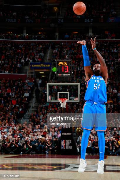 Patrick Patterson of the Oklahoma City Thunder shoots the ball during the game against the Cleveland Cavaliers on January 20 2018 at Quicken Loans...