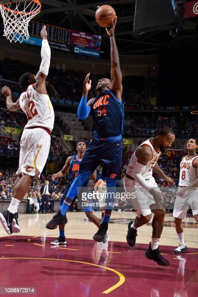 Patrick Patterson of the Oklahoma City Thunder shoots the ball against the Cleveland Cavaliers on November 7 2018 at Quicken Loans Arena in Cleveland...