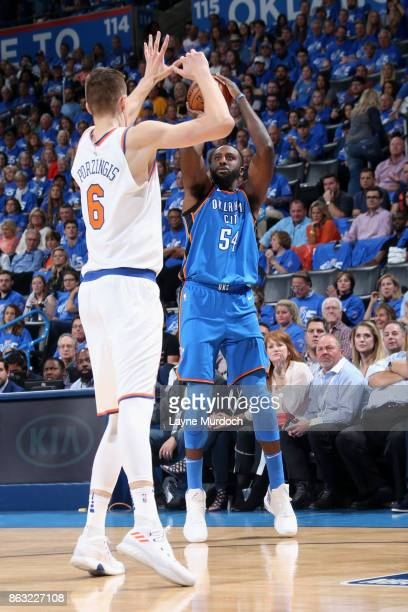 Patrick Patterson of the Oklahoma City Thunder shoots the ball against the New York Knicks on October 19 2017 at Chesapeake Energy Arena in Oklahoma...