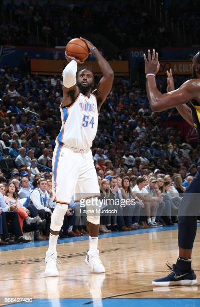 Patrick Patterson of the Oklahoma City Thunder shoots the ball against the Indiana Pacers on October 25 2017 at Chesapeake Energy Arena in Oklahoma...