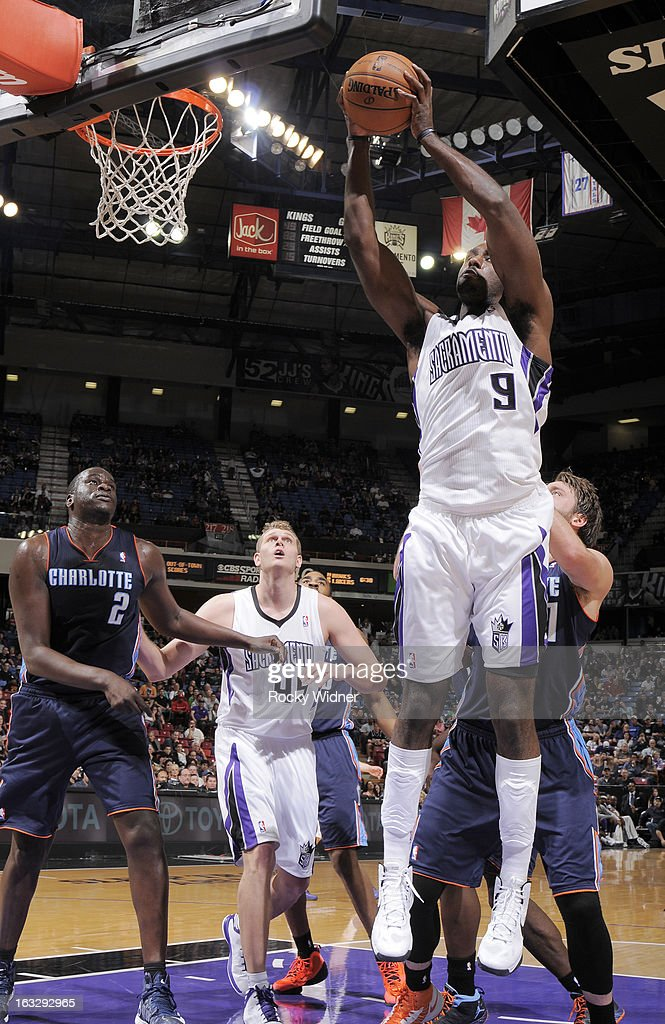 Patrick Patterson #9 of the Sacramento Kings rebounds against the Charlotte Bobcats on March 3, 2013 at Sleep Train Arena in Sacramento, California.