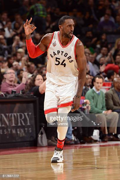 Patrick Patterson of the Toronto Raptors celebrates a three point basket against the Cleveland Cavaliers on February 26 2016 at Air Canada Centre in...
