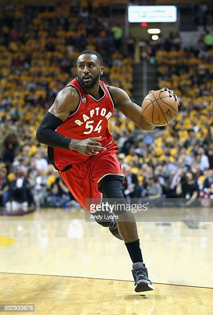 Patrick Patterson of the Toronto Raptors dribbles during the first half against the Cleveland Cavaliers in game two of the Eastern Conference Finals...